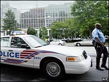 A US police patrol. File photo