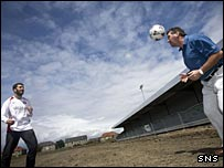 Spartans captain Stuart Fowlie and co-manager Sam Lynch at the stadium site