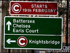 Signs tell drivers of the western extension of London's congestion charge zone
