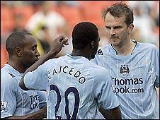 Manchester City trio Darius Vassell (left), Felipe Caicedo (centre) and Dietmar Hamann