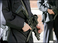 Armed police officers in London