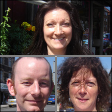 Penelope Rollinson (top), Adam Lloyd and Tracy Pallant