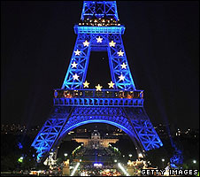 Eiffel Tower lit up in EU colours
