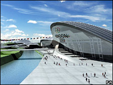 An artist's impression of the aquatics centre in London