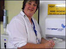 Rosie Collier washes her hands on a ward at Beccles Hospital