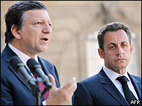 Jos� Durao Barroso (izq) y Nicol�s Sarkozy.