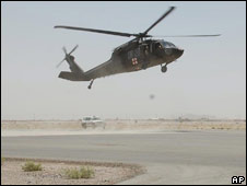 A US Blackhawk helicopter arrives at Kandahar on 25 May 2008
