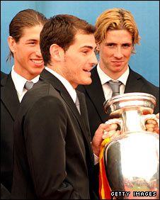 Sergio Ramos, Iker Casillas and Fernando Torres