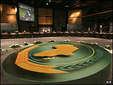 "Ghana""s president John Agyekum Kufour is seen on TV screens during the closing session of the African Union summit in Sharm el-Sheikh, Egypt, Tuesday, July 1, 2008."