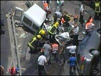 موقع الحادث في شارع يافا بالقدس