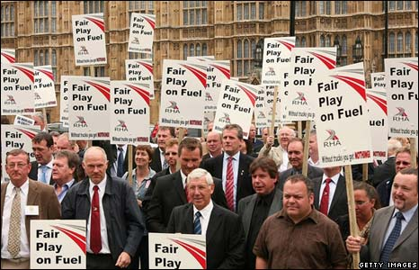 Lorry drivers gather for a rally in Westminster over fuel