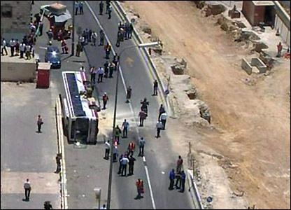 Overturned bus