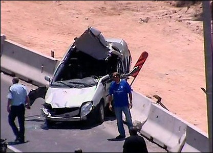 Car caught in bulldozer attack