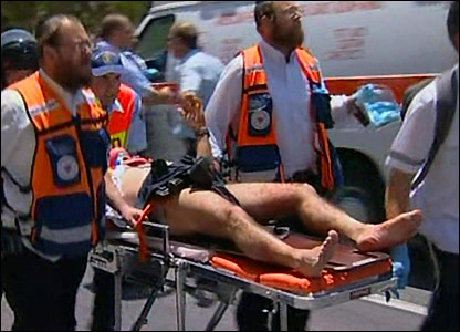 Wounded person after bulldozer attack