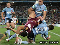 Israel Folau goes over for a try