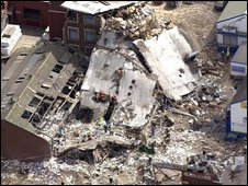 Aerial shot of explosion aftermath