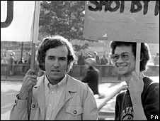 Mr Hain, in 1973, at a demonstration by anti-apartheid campaigners outside the South African Embassy in Trafalgar Sq