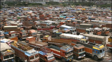 Parked trucks at a terminal on the outskirts of Mumbai (Bombay)