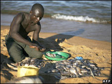 African fisherman on beach