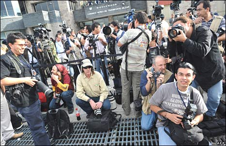 Media at Catam airport in Bogota on 2 July 2008
