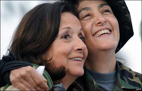 Ingrid Betancourt and her mother Yolanda Pulecio, Catam air base, Bogota 2 July 2008