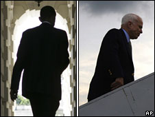 Barack Obama (L) and John McCain (R), both pictured from behind