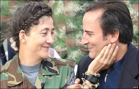 Ingrid Betancourt and husband Juan Carlos Lecompte, Catam air base, Bogota 2 July 2008