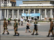 Soldiers patrol Ulan Bator's main square on 2 July 2008