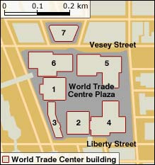 Map showing the location of the WTC buildings
