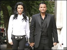 Katie Price and Peter Andre arrive at the High Court
