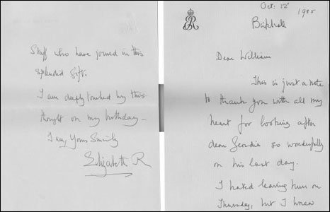 Letter from the Queen Mother thanking William Tallon for gifts.
