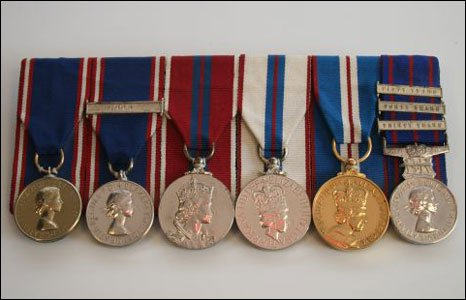 Six Royal service medals.