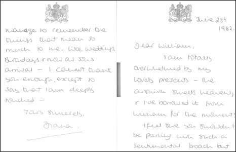 A letter from Princess Diana to William Tallon thanking him for gifts.
