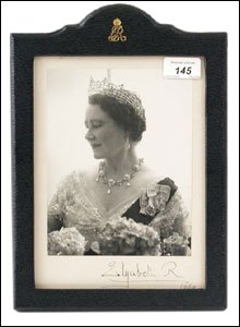 Autographed photo of the Queen Mother - signed and dated 'Elizabeth R 1969'.