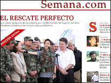 "Semana.com website reads ""The perfect rescue"""