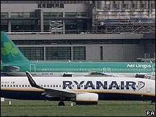 Ryanair and Aer Lingus planes on the runway