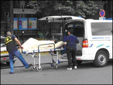 A patient is taken into Hôtel-Dieu hospital in Paris