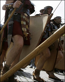 Roman soldiers in a reconstruction
