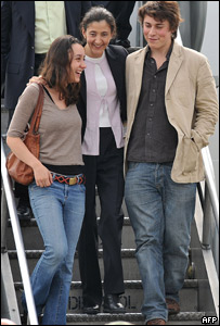 Ingrid Betancourt y sus hijos.