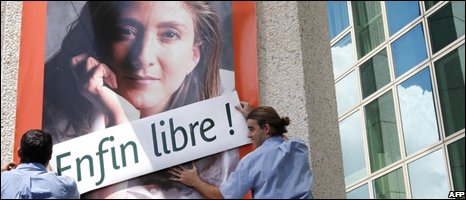A poster of Ingrid Betancourt in Bordeaux, 03/07