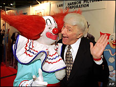 Larry Harmon (right) and Bozo the Clown in 1996