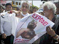 Journalists and human rights activists protest in Colombo on 2 July 2008