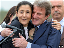 Ingrid Betancourt hugs French Foreign Minister Bernard Kouchner at the airport in Bogota , 3 July