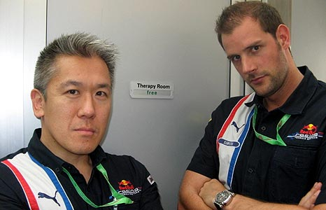 Paul is Red Bull's chiropractor, Simon the sports therapist and Coulthard's personal trainer