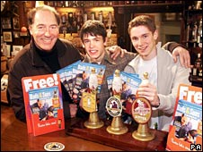 Clive Hornby with on-screen sons Kelvin Fletcher (Andy) and Karl Davies (Robert)