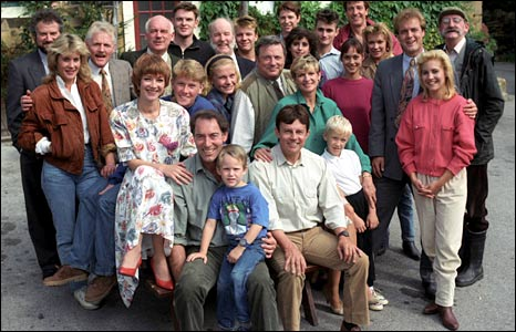 The Emmerdale cast in 1990