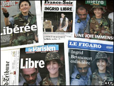 Front pages of French daily newspapers carry the news of Ingrid Betancourt's rescue