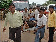 Victim of the Orissa stampede is rushed to hospital