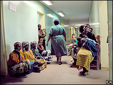 Patients spilling out into the corridors of the overcrowded hospital in Africa