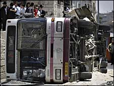 The bus which was overturned in Jerusalem